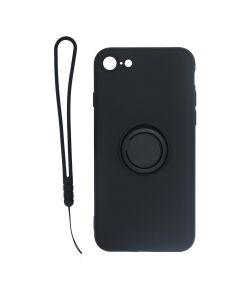 Apple iPhone 7/8/SE 2020 Soft Liquid Silicone Case With Magnetic Ring Holder Stand and Slim Hands Strap Best Quality Black