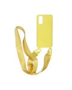 Liquid Silicone Case For Samsung Galaxy S20 Yellow With Hand Rope